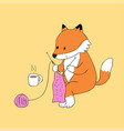 cartoon cute autumn red fox knitting vector image