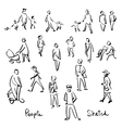 Casual People Sketch Outline hand drawing vector image