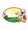 chicken chef and beautiful farm vector image vector image