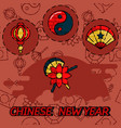 chinese new year flat concept icons vector image vector image