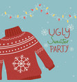 christmas ugly sweater party garland lights vector image