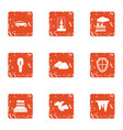 citywide icons set grunge style vector image vector image