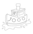 colorless funny cartoon ship vector image