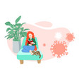 covid19-19 young women sitting at home vector image vector image