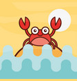crab crustacean sea life cartoon vector image