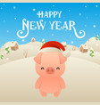 cute cartoon pig in santa claus hat character vector image vector image