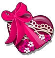 decor form heart red color decorated with vector image