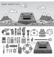 equipment for safety in sea line monochrome vector image