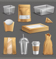 fastfood takeaway packaging realistic set vector image vector image