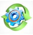 Gear with green arrows vector image vector image