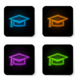 glowing neon graduation cap icon isolated on vector image vector image