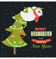 greeting card polar bear climbed christmas vector image vector image