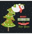 Greeting card polar bear climbed the Christmas vector image