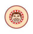grinning funny face mascot circle retro vector image vector image