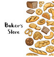 hand drawn colored bakery elements vector image