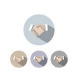handshake icon with shadow on colored circles vector image