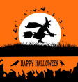 Happy Halloween Background with Spooky Witch on vector image