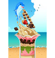 ice cream sundae summer poster vector image vector image