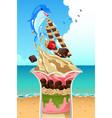 ice cream sundae summer poster vector image
