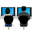 man and woman with computer at the table vector image