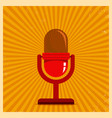 microphone on yellow retro background vector image vector image