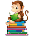 Monkey and books vector image