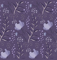 monochrome purple doodle floral pattern vector image