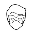 monochrome thick contour head of faceless kid vector image
