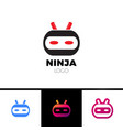 ninja head logo symbol with red eye and knife vector image