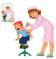 nurse doing an inoculation to a small boy vector image vector image
