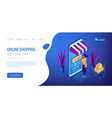 online purchase concept isometric 3d landing page vector image
