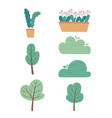 potted plants flowers trees bushes greenery vector image vector image