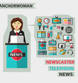 Profession of people Flat infographic Anchorwoman vector image vector image