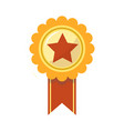 ribbon award golden star for sport championship vector image