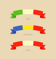 ribbon with flag of italy romania and peru vector image vector image
