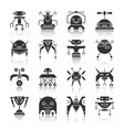 robot black silhouette reflection icon set vector image