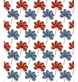 Seamless Pattern with Blue and Red Flowers vector image
