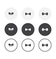 set 3 simple design bow icons rounded vector image