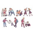 set children bullies during fight actions vector image vector image
