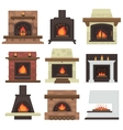set of home fireplaces vector image vector image