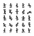 Set of Skateboard Boy Human pictogram Icons vector image vector image