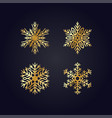 simple golden hand-drawn icons of a snowflake vector image
