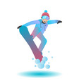 snowboarder man jumping on vector image vector image