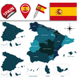 Spain map with named divisions vector image vector image