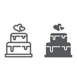 stacked cake line and glyph icon dessert and love vector image vector image