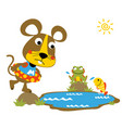 swimming time with cute animals mouse frog fish vector image