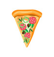 triangle pizza slice with pepperoni pepper vector image