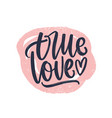 true love romantic phrase handwritten with elegant vector image vector image