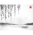 willow tree far islands and little boat vector image