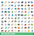 100 house icons set isometric 3d style